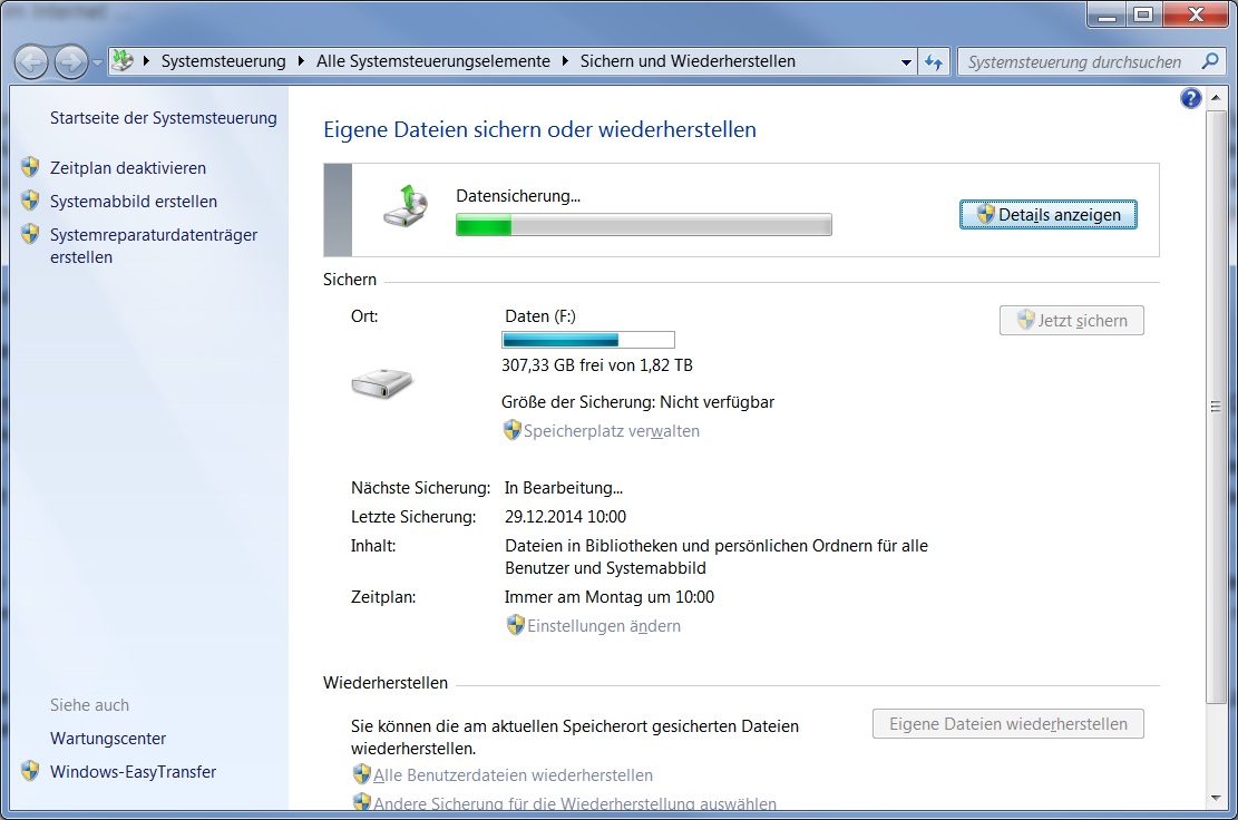 Windows sicherung